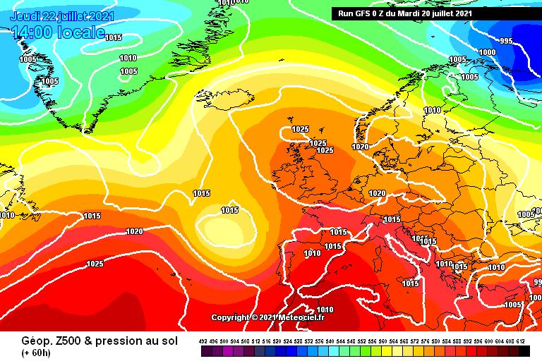 Geopotenziali 500hpa - in rosso notiamo la risalita dell'alta pressione sul mediterraneo occidentale
